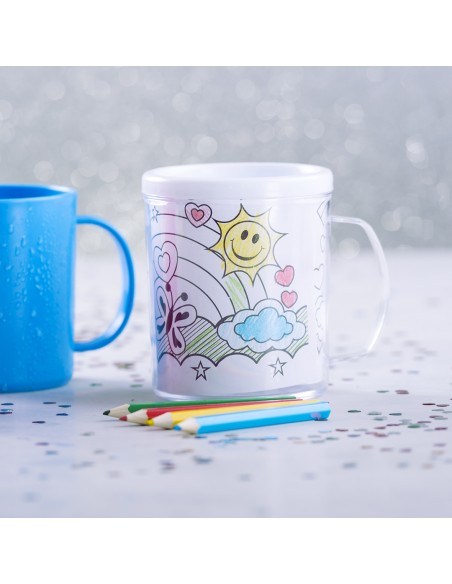 Taza infantil para colorear, con 4 lapices de colores y 4 plantillas