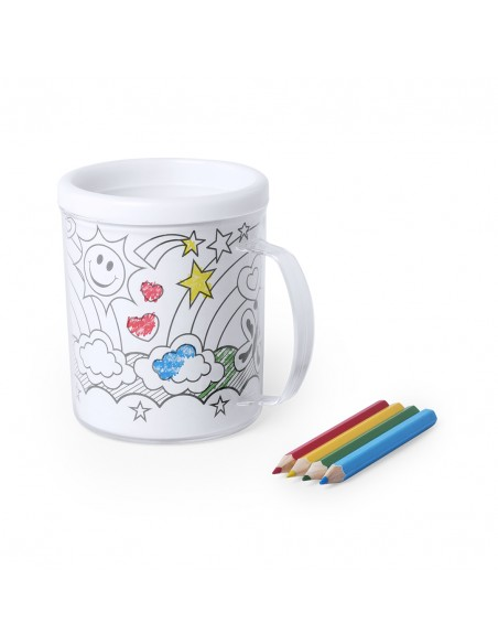 Taza infantil para colorear, incluye 4 lapices de colores y 4 plantillas