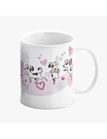 Reverso de la taza decorada con corazones y mascotas, sin personalizar