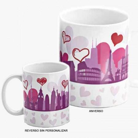 Taza regalo personalizable con corazones y edificios