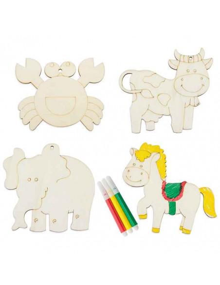 Piezas de madera con forma de animales para colorear
