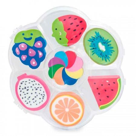Set con 7 gomas de borrar con formas de frutas