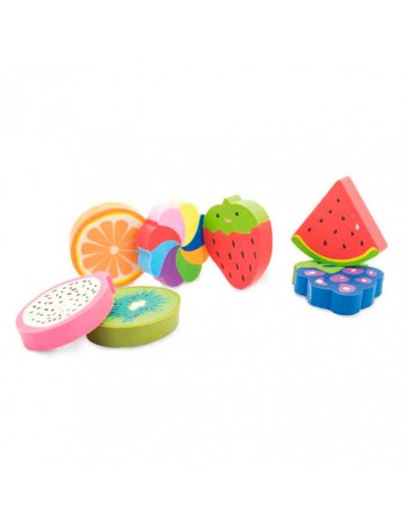 Gomas de borrar con formas de frutas
