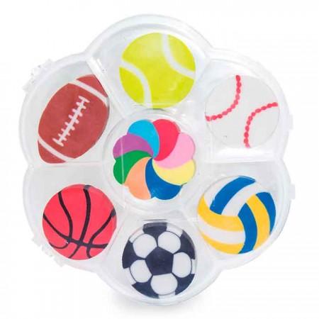 Set de 7 gomas de borrar con formas de balones