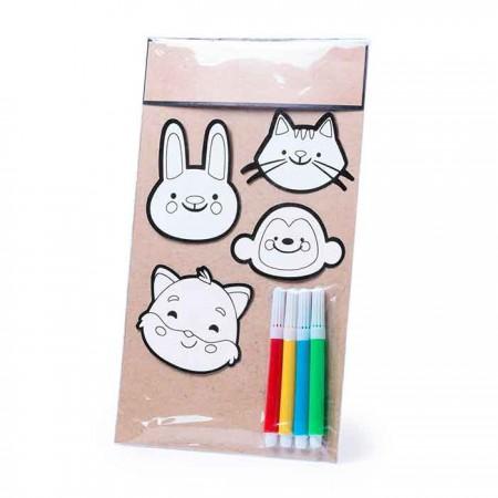 Set infantil con 4 pegatinas y 4 rotuladores para colorear