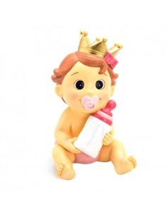 Figura niña con corona, lazo rosa, chupete y biberón, para tarta de bautizo