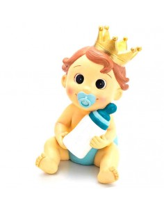 Figura bebé niño con corona, chupete y biberón, para bautizo