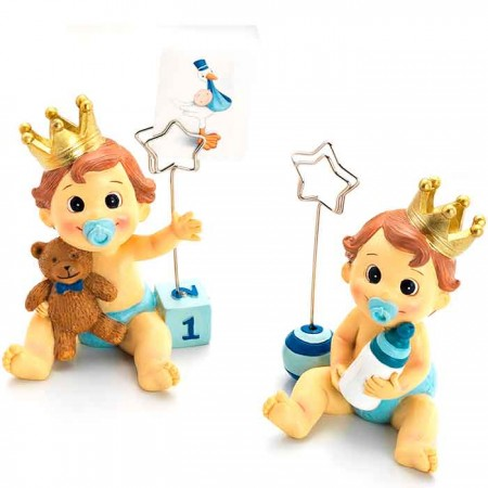 Figuras con clip portafoto niño bebé con corona y chupete