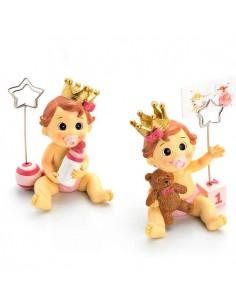 Figura con clip portafoto o porta notas niña bebé con corona, lazo rosa y chupete