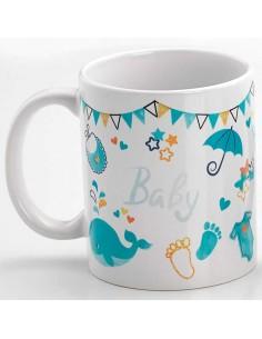 Reverso sin personalizar de la taza para regalo con motivos de bebé, color celeste