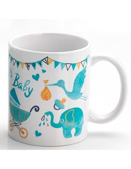 Taza para regalo con motivos de bebé, color celeste
