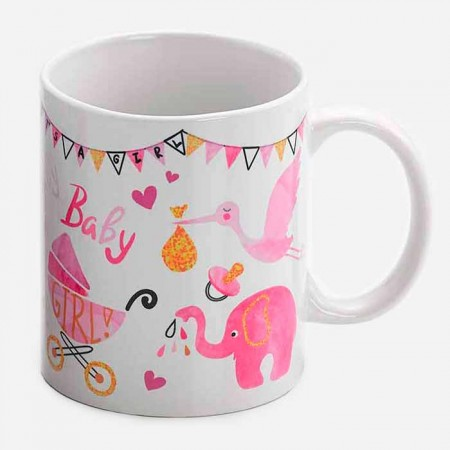Taza para regalo con motivos de bebé, rosa