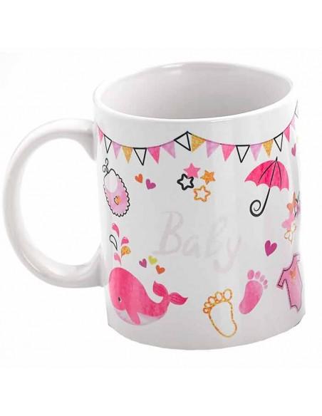Reverso de la taza sin personalizar para regalo con motivos de bebé, rosa
