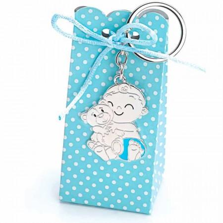 Llavero metal recuerdo de bautizo bebé niño con osito y caja con peladillas