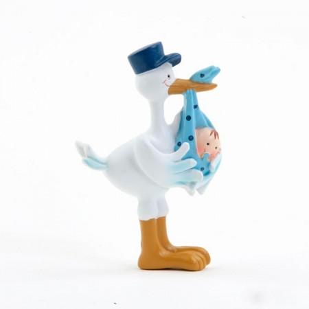 Imán para detalles bautizo, cigüeña con niño el pico y gorra azul