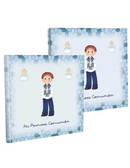 Libro para comunión con estuche, niño marinero y angelitos