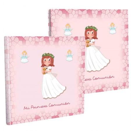 Libro de firmas niña con cáliz, con estuche para su protección