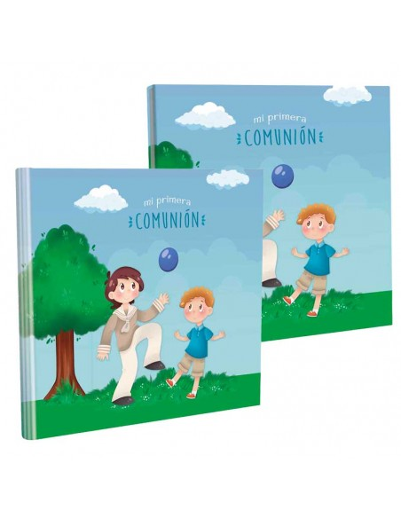 Libro con estuche para firmas, niños jugando con un balón