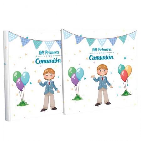 Libro de firma con estuche, niño primera comunión con globos
