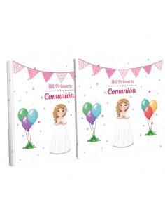 Libro de firmas para Comunión con estuche, niña con globos