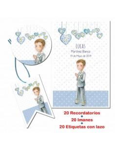 Pack 20 Unidades Invitación Para Primera Comunión Niño Corazones