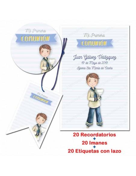 Pack con 20 recordatorios, 20 imanes y 20 etiquetas de comunión, Niño con Cáliz