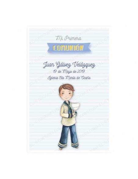 Recordatorio para comunión con un niño con un sencillo cáliz