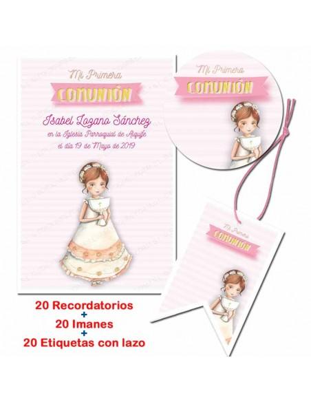 Pack con 20 recordatorios, 20 imanes y 20 etiquetas, Niña con Cáliz
