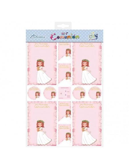 Presentación del pack con 20 recordatorios, 20 imanes y 20 etiquetas, Niña sonriente con Cáliz