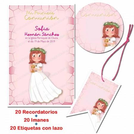 Pack con 20 recordatorios, 20 imanes y 20 etiquetas, Niña sonriente con Cáliz