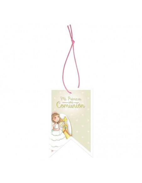 Etiqueta para los detalles de comunión con una sonriente niña