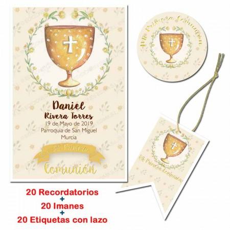 Pack con 20 recordatorios, 20 imanes y 20 etiquetas, Cáliz dorado