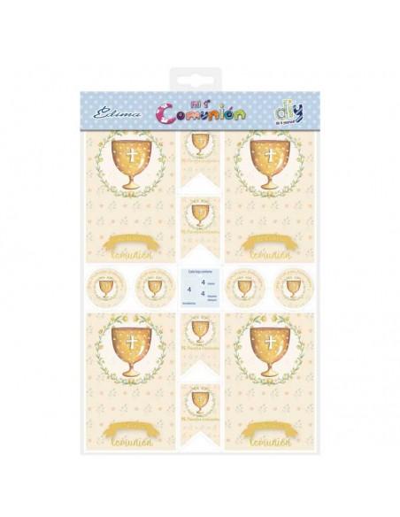 Presentación del pack con 20 recordatorios, 20 imanes y 20 etiquetas, Cáliz dorado