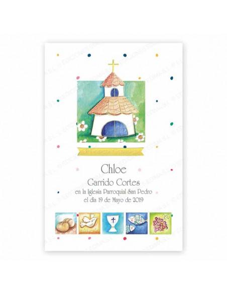 Recordatorio para comunión, pequeña iglesia y simbolos de comunión