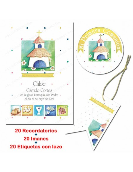 Pack con 20 recordatorios, 20 imanes y 20 etiquetas, iglesia y simbolos comunión