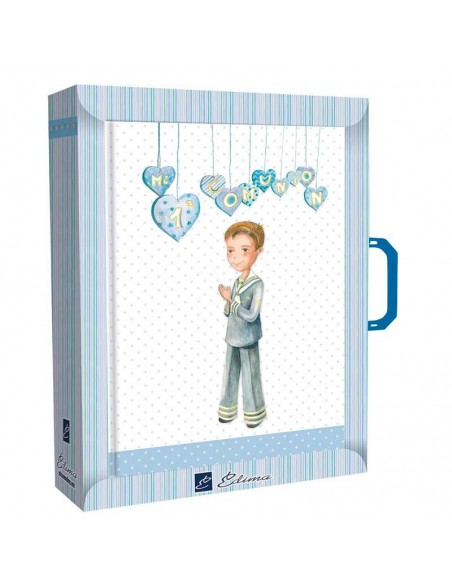 Libro de firmas para comunión con maletín, niño con corazones