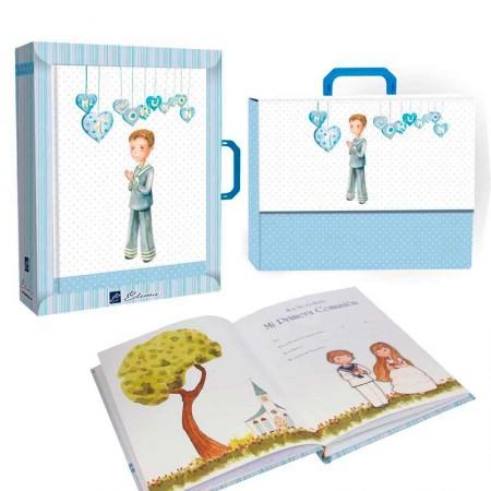 Libro de firmas para comunión con maletín, niño con corazones y traje marinero
