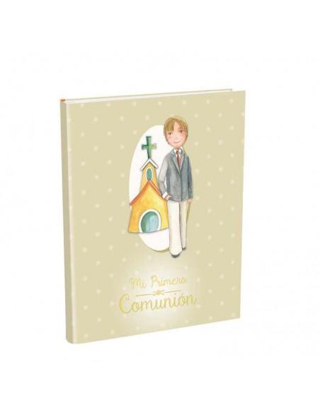 Portada del libro para firmas Comunión con maletín, Niño trajeado con iglesia de fondo