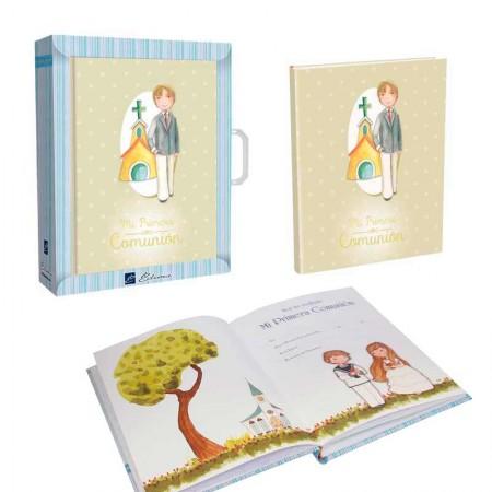 Libro para firmas Comunión con maletín, Niño con iglesia de fondo