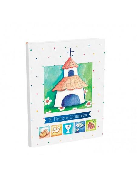 Portada del libro para firmas Comunión con maletín, bonita iglesia y simbolos