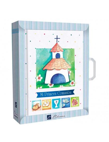 Presentación del libro para firmas Comunión con maletín, bonita iglesia y simbolos