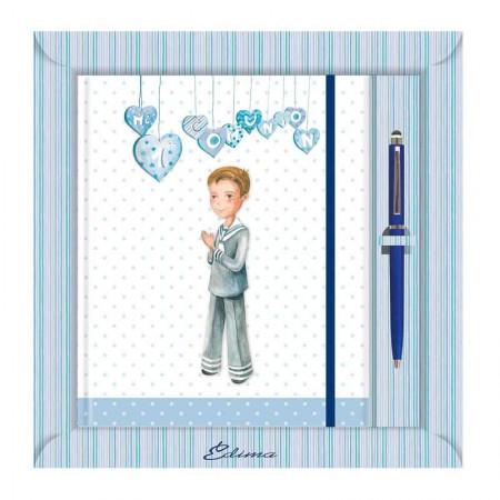 Diario para Primera Comunión más bolígrafo, niño con corazones