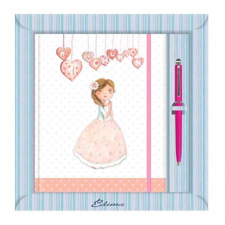 Diario para Primera Comunión más bolígrafo, niña corazones