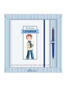 Diario para Primera Comunión más bolígrafo, niño marinero con Cáliz