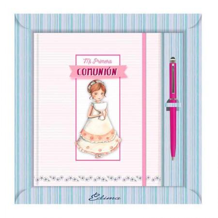 Diario paraPrimera Comunión más bolígrafo, niña con Cáliz y diadema