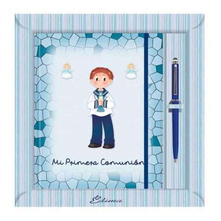 Diario para Primera Comunión más bolígrafo, niño marinero con vela