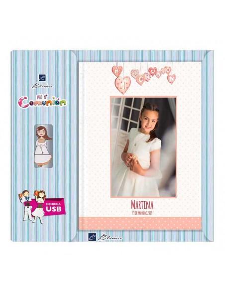 Libro personalizado para firmas de comunión con USB, modelo niña corazones