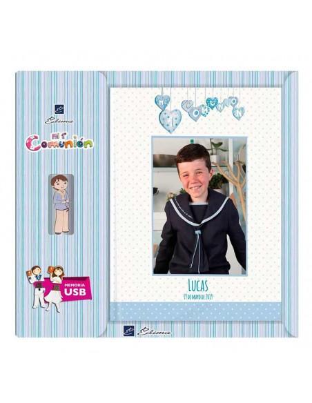 Libro personalizado de firmas para Comunión con USB, niño corazones
