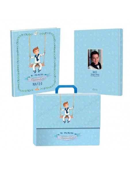Libro personalizado de firmas para Comunión con maletín, niño en columpio