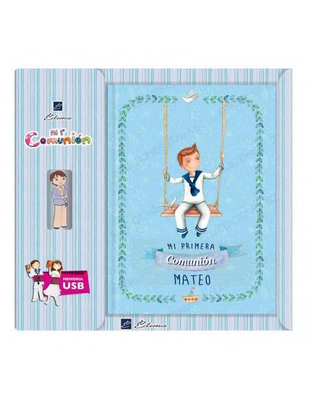 Libro personalizado de firmas Comunión con USB, niño en columpio